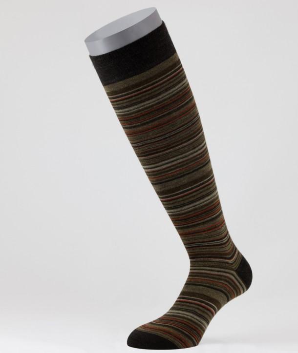 Irregular Stripes Wool Long Socks Brown for men