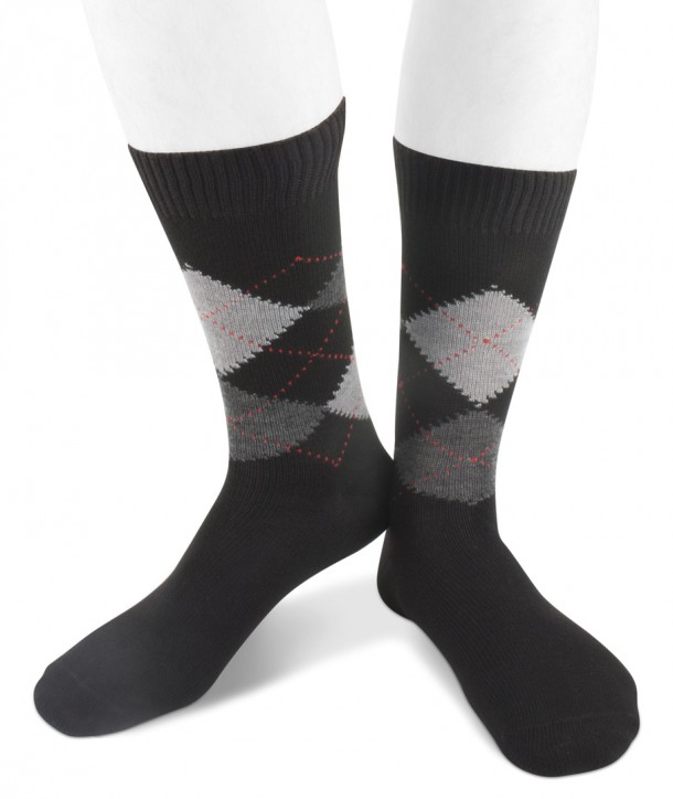 Short wool men argyle socks black