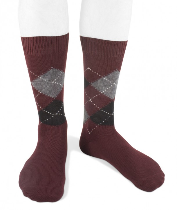 Short wool men argyle socks bordeaux