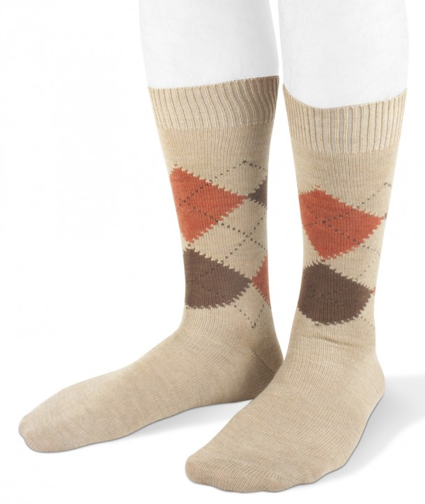 Short wool men argyle socks beige