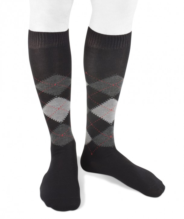 Long wool men argyle socks black