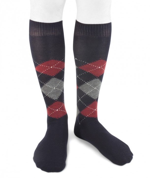 Long wool men argyle socks navy blue