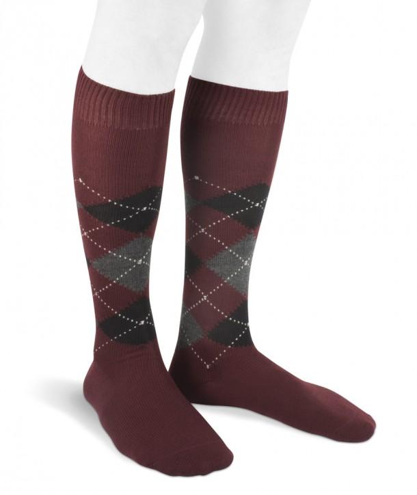 Long wool men argyle socks bordeaux