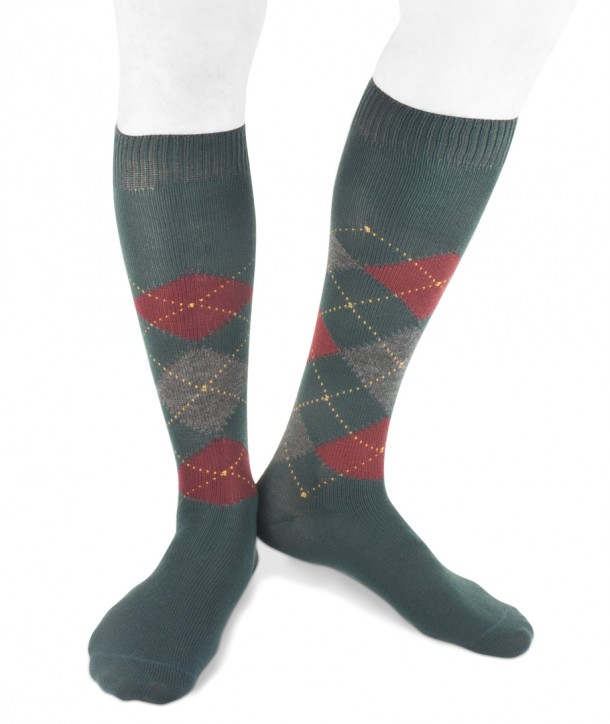 Long wool men argyle socks green