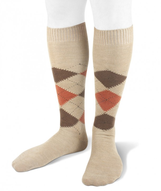 Long wool men argyle socks beige