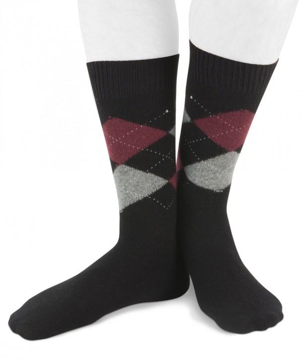 Short Cashmere blend men argyle socks Black