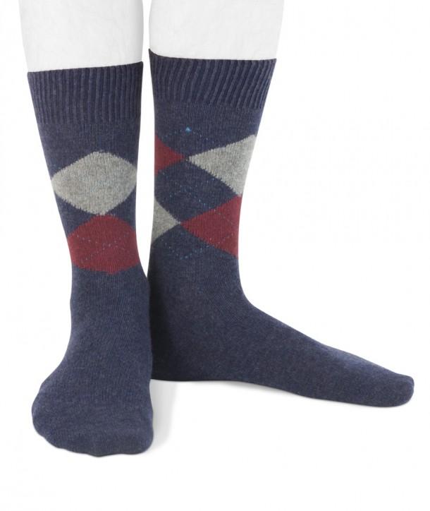 Short Cashmere blend men argyle socks Denim