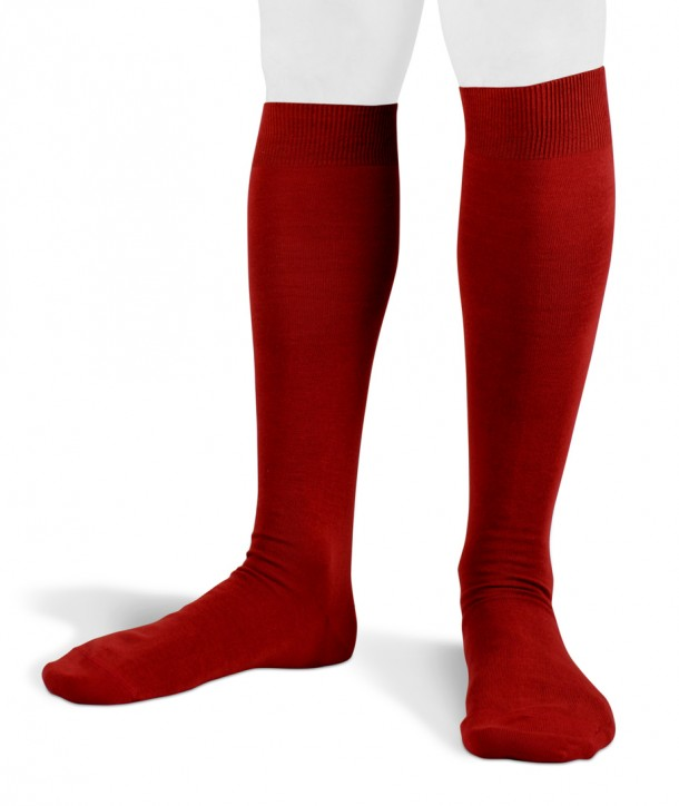 Flat Knit Cotton Long Red Socks for men