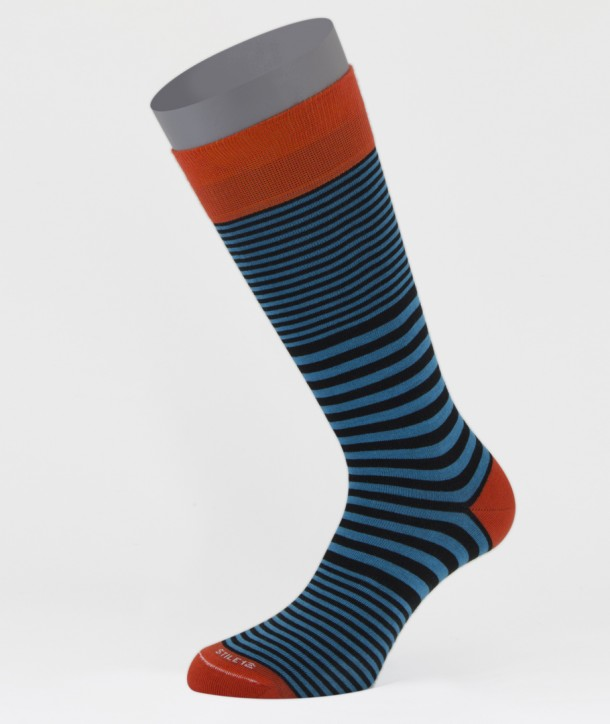 Mix Stripes Black Blue Cotton Short Socks for men
