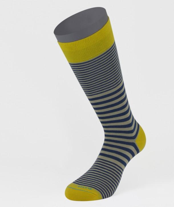 Mix Stripes Beige Blue Cotton Short Socks for men