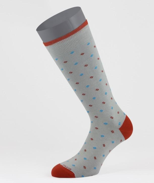 Mini Diamonds Cotton Short Socks Light Grey for men