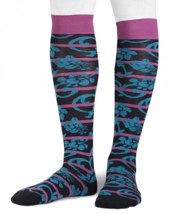 Long cotton men socks stripes flower black fuchsia blue