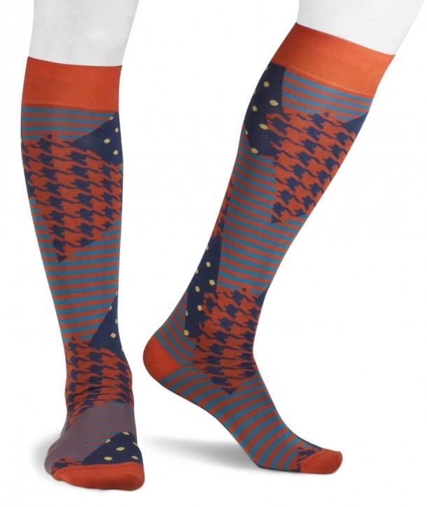 Calze lunghe colorate righe pois pied de poule in Cotone per uomo blu arancio