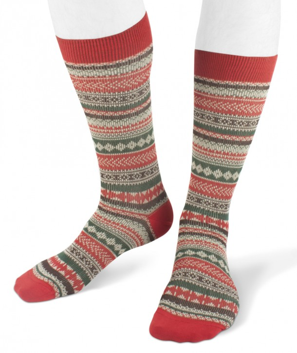 Short cotton men socks norwegian style red green