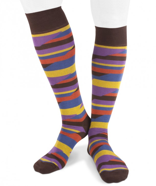 Long cotton crazy stripes brown socks for men