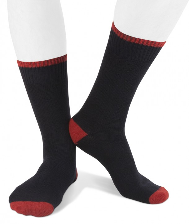 Short cashmere blend men socks navy blue red