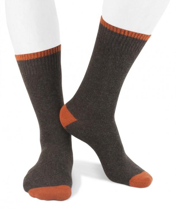 Short cashmere men socks brown orange