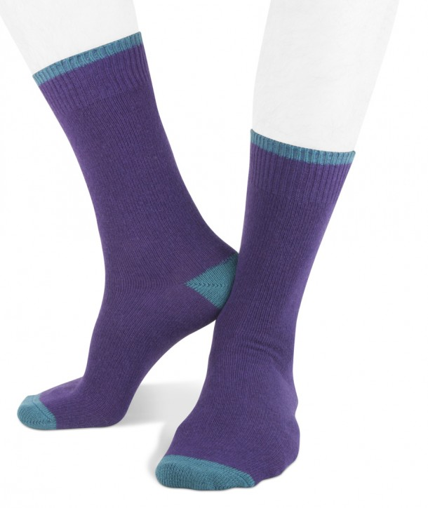 Short cashmere blend men socks purple blue