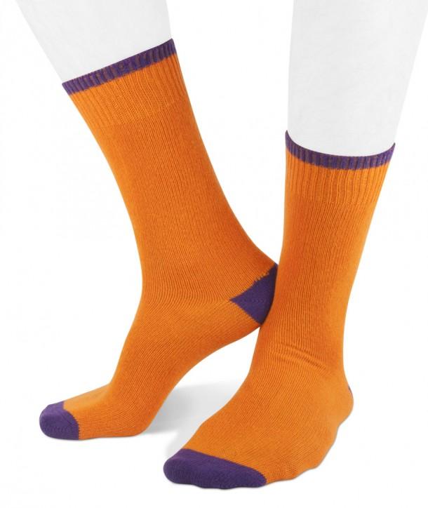 Calze corte in misto Cashmere per uomo arancio viola