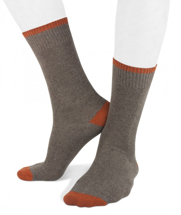 Short cashmere blend men socks beige orange