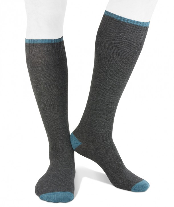 Long cashmere blend men socks anthracite blue