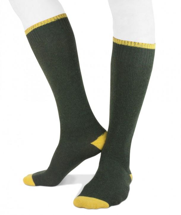 Long cashmere men socks green yellow
