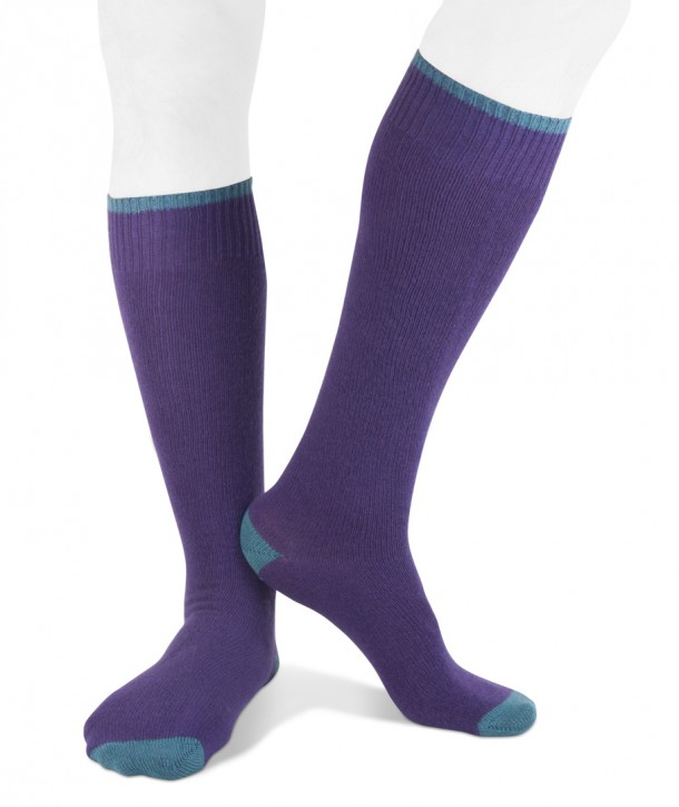 Calze lunghe in misto Cashmere per uomo viola blu