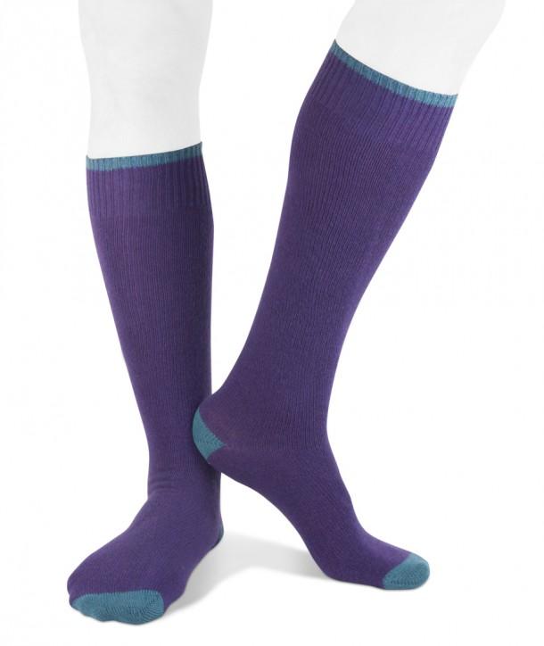 Long cashmere blend men socks purple blue