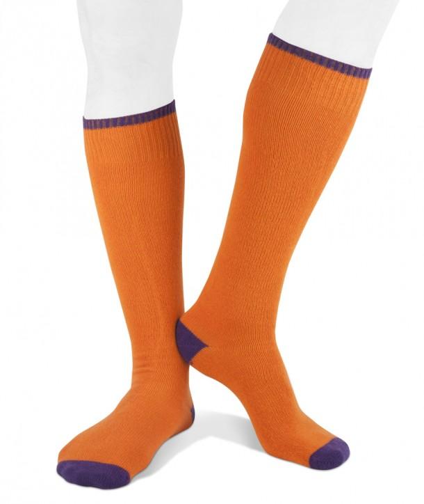 Long cashmere blend men socks orange purple