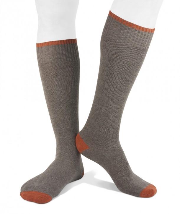 Long cashmere blend men socks beige orange