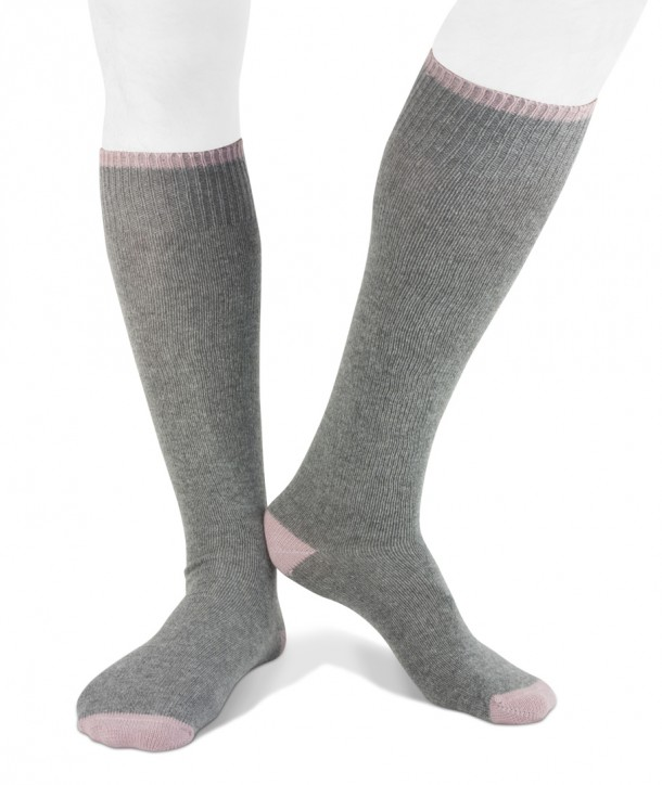 Long cashmere blend men socks grey pink