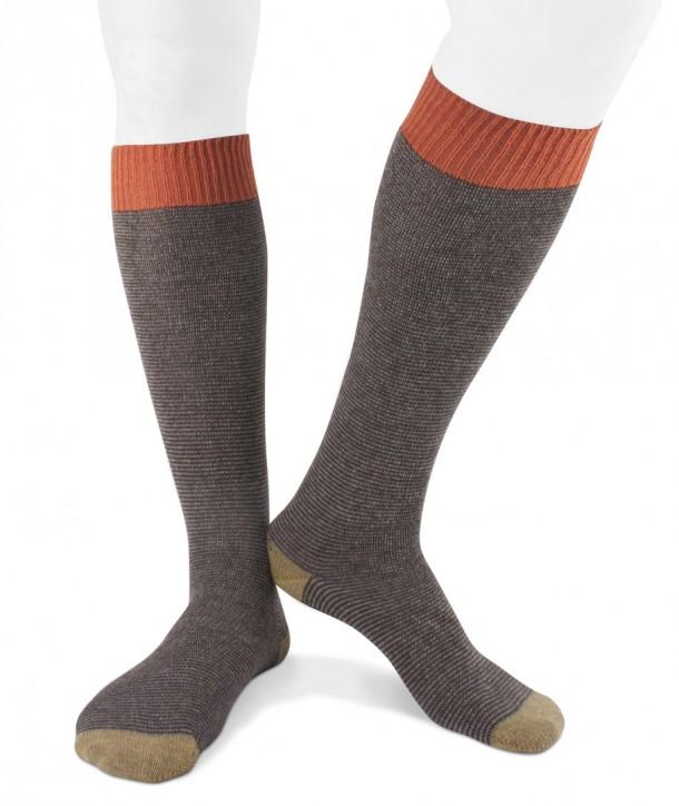 Long cashmere blend striped socks for men Brown