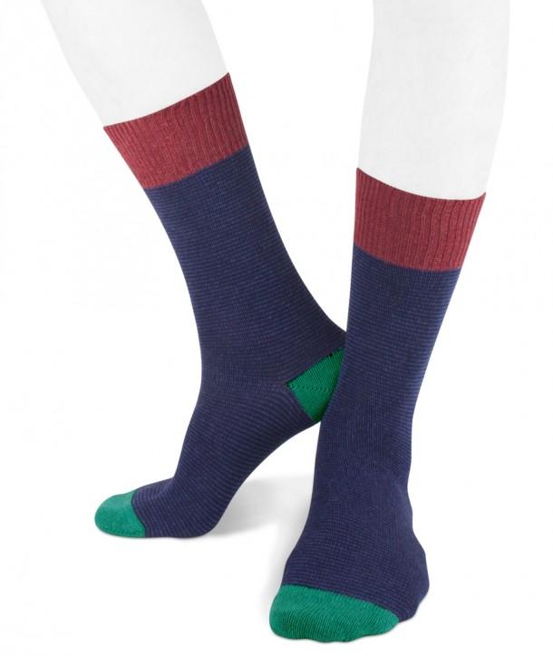 Short cashmere blend striped socks for men Navy Blue