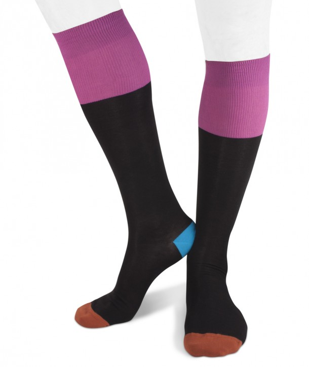 Long cotton Contrast Top, Heel, Toe Socks for men Black fucshia blue orange