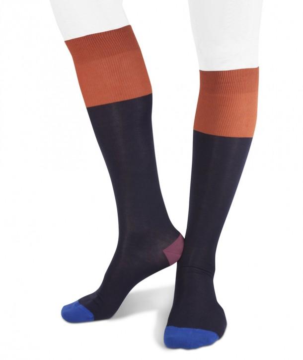 Calze lunghe punta polso tallone colorati in cotone per uomo blu navy arancio rosso blu