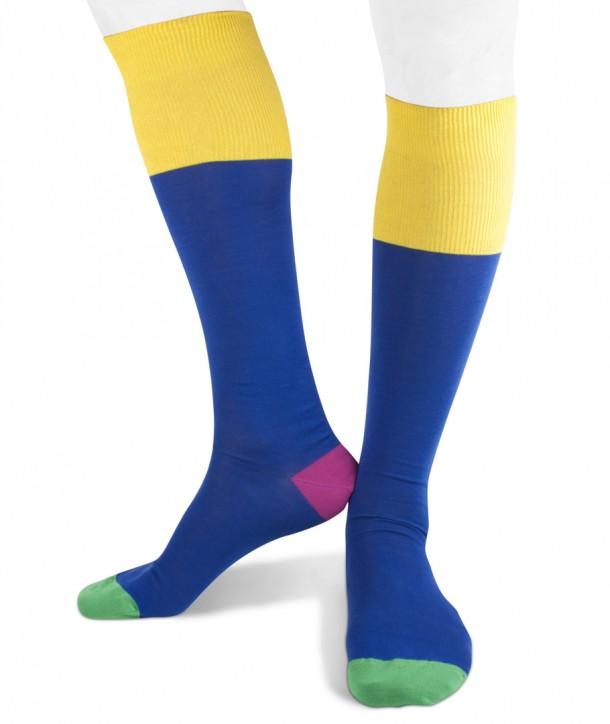 Long cotton Contrast Top, Heel, Toe Socks for men blue yellow purple green