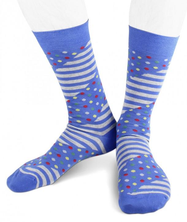 Short cotton men socks stripes dots blue grey