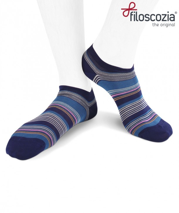 Sneaker cotton lisle men socks stripes on blue