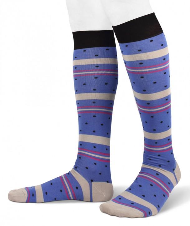 Color Stripes and dots Cotton Long Socks Bluette