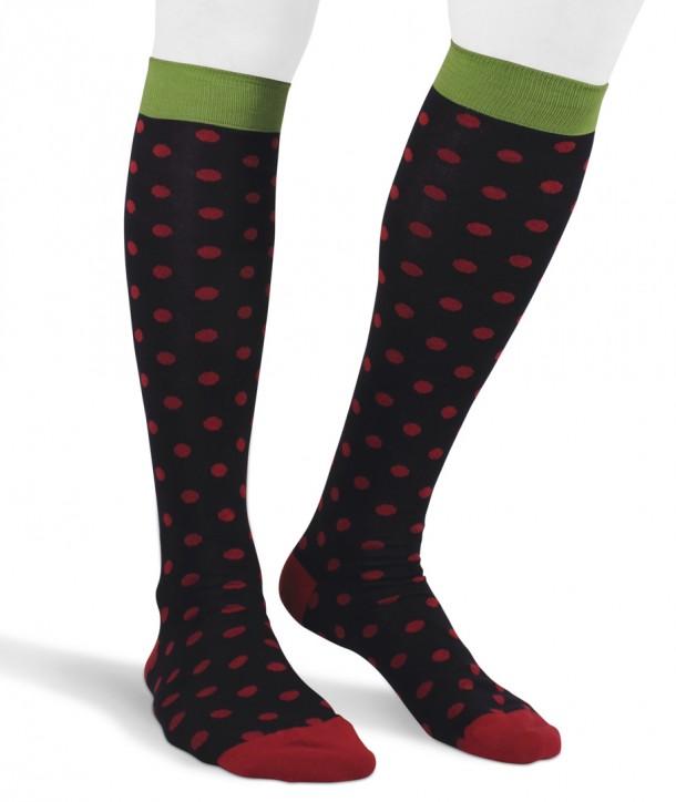Long cotton polka dot Socks for men navy red green