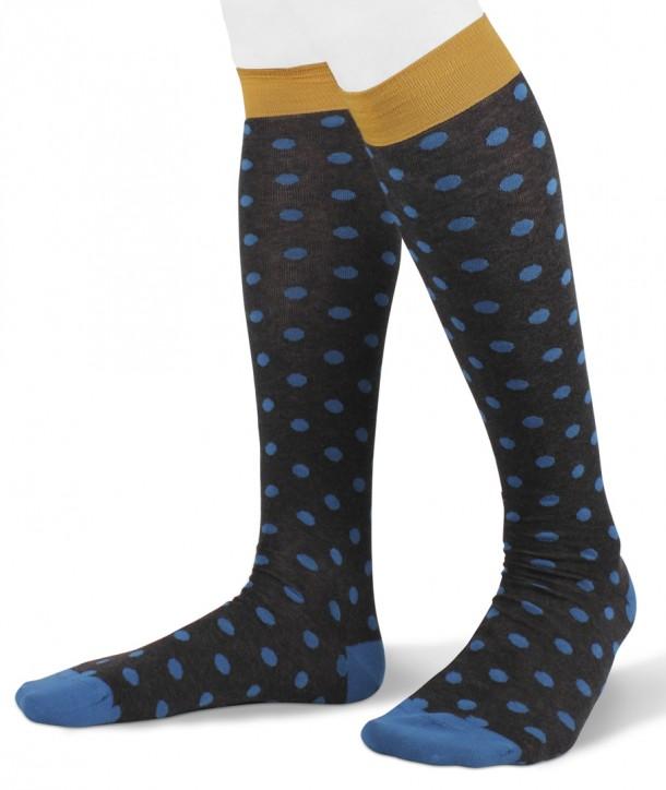 Long cotton polka dot Socks for men anthracite turquoise yellow
