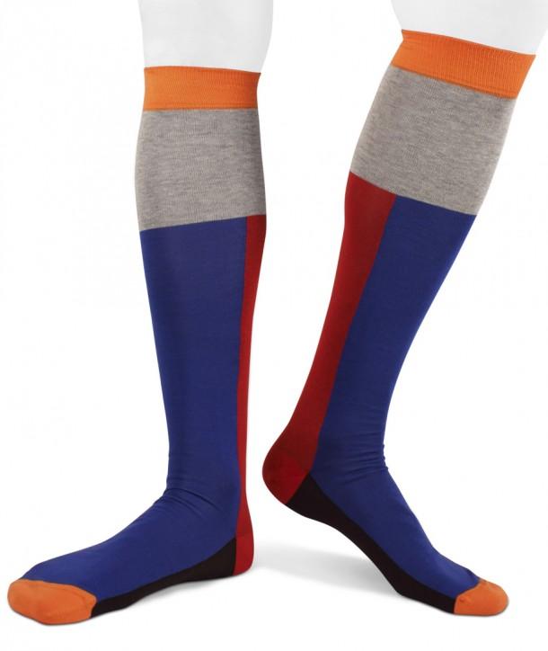 Calze lunghe a blocchi verticali blu rosso grigio arancio moro in cotone per uomo