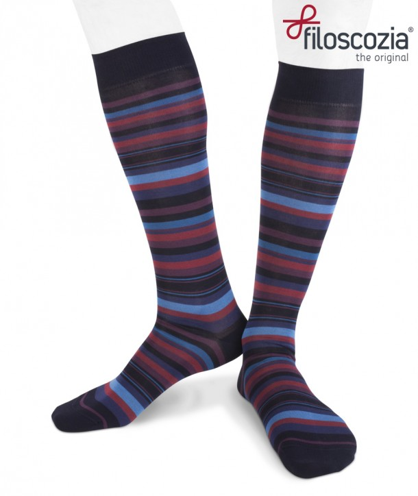 Irregular Colored Stripes Cotton Lisle Long Socks Blue Purple Red for men