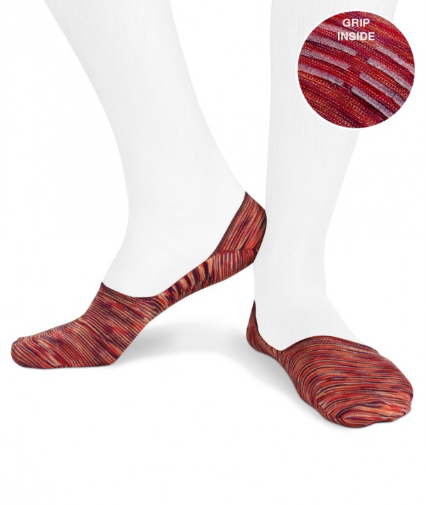 multicolor cotton no show socks for men red