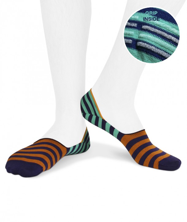 striped cotton no show socks for men bluette orange and green