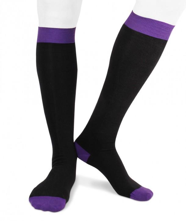 Ecotec® ecologic cotton men long socks black purple
