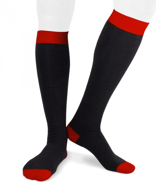 Calze lunghe in cotone ecologico Ecotec® per uomo blu rosso