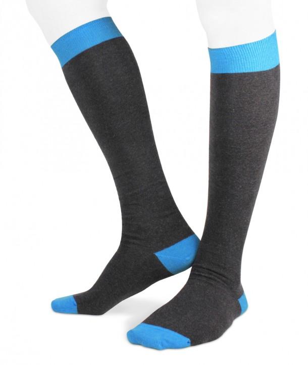 Ecotec® ecologic cotton men long socks anthracite turquoise