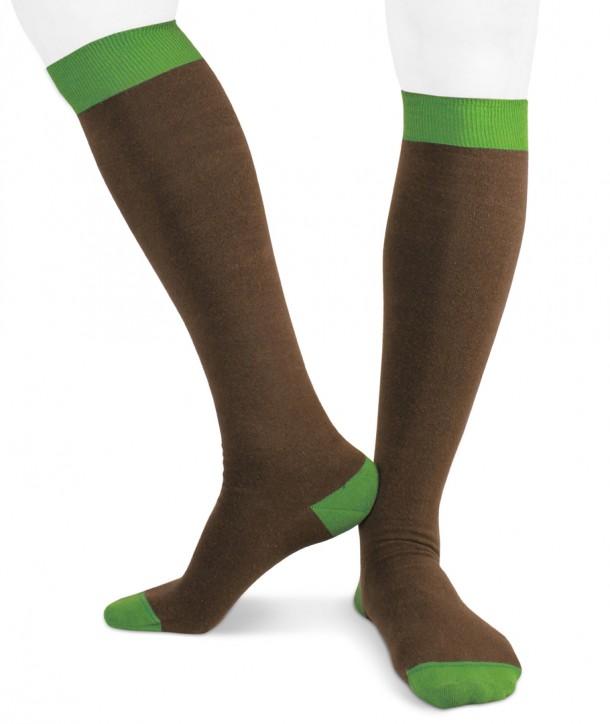 Calze lunghe in cotone ecologico Ecotec® per uomo marrone verde