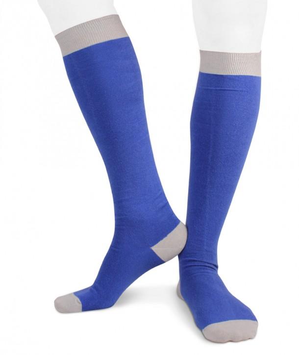 Calze lunghe in cotone ecologico Ecotec® per uomo bluette grigio